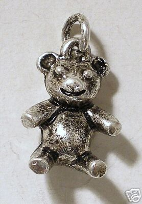 Charm Teddy bear silver plated 17mm X 2