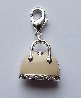 Clip on charm for bracelet or hand bag. Silver and ivory handbag 30mm